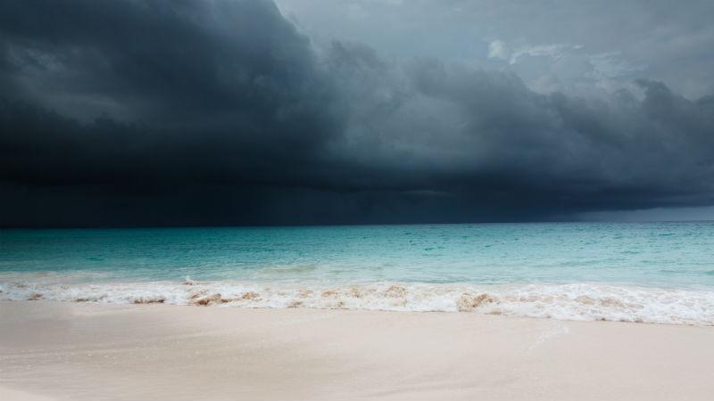 Barbados Rain clouds and beach