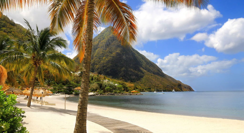 View of the Pitons from the beach through palm trees in St Lucia