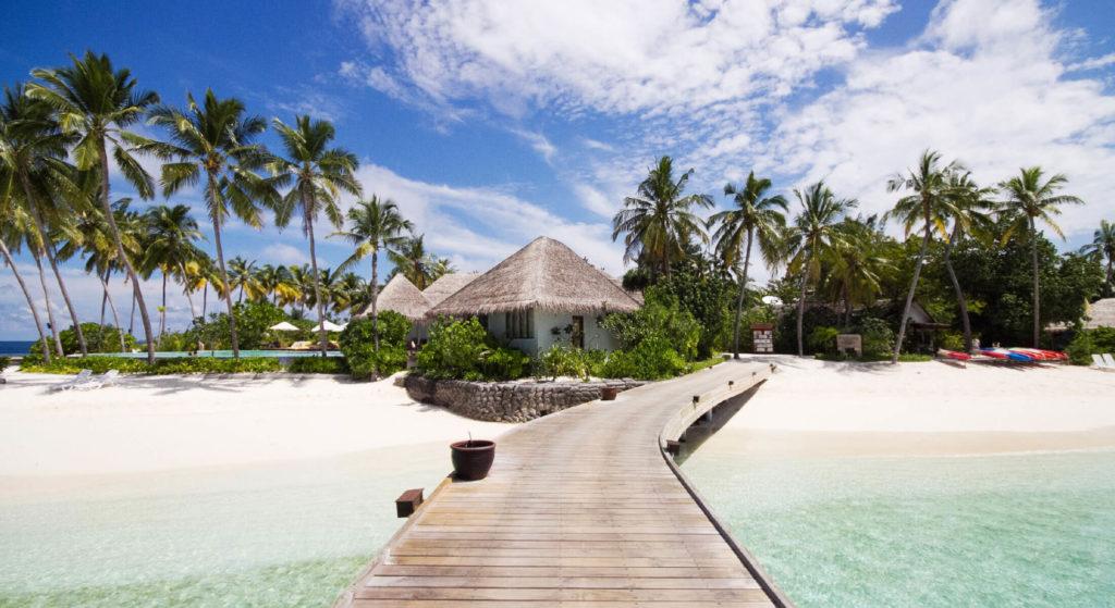 Beach villa with jetty in the Maldives