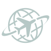 Icon of a plane flying around a globe