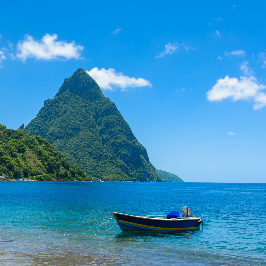 View of the Pitons, St Lucia