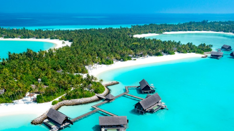 Aerial view of the island at One&Only Reethi Rah in the Maldives