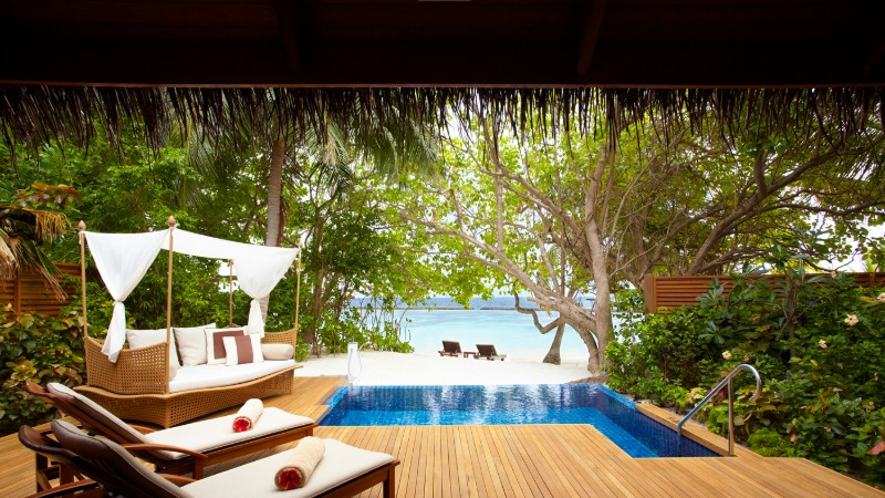 View of the beach from the pool villa at Baros in the Maldives