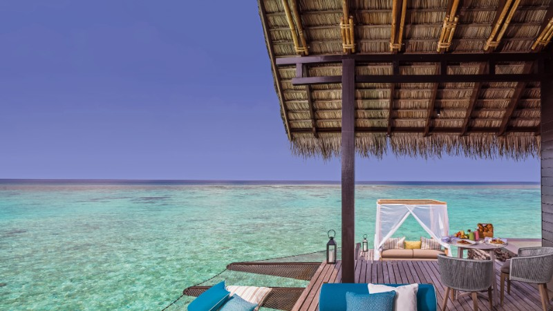 View from the decking of the water villa at One&Only Reethi Rah in the Maldives