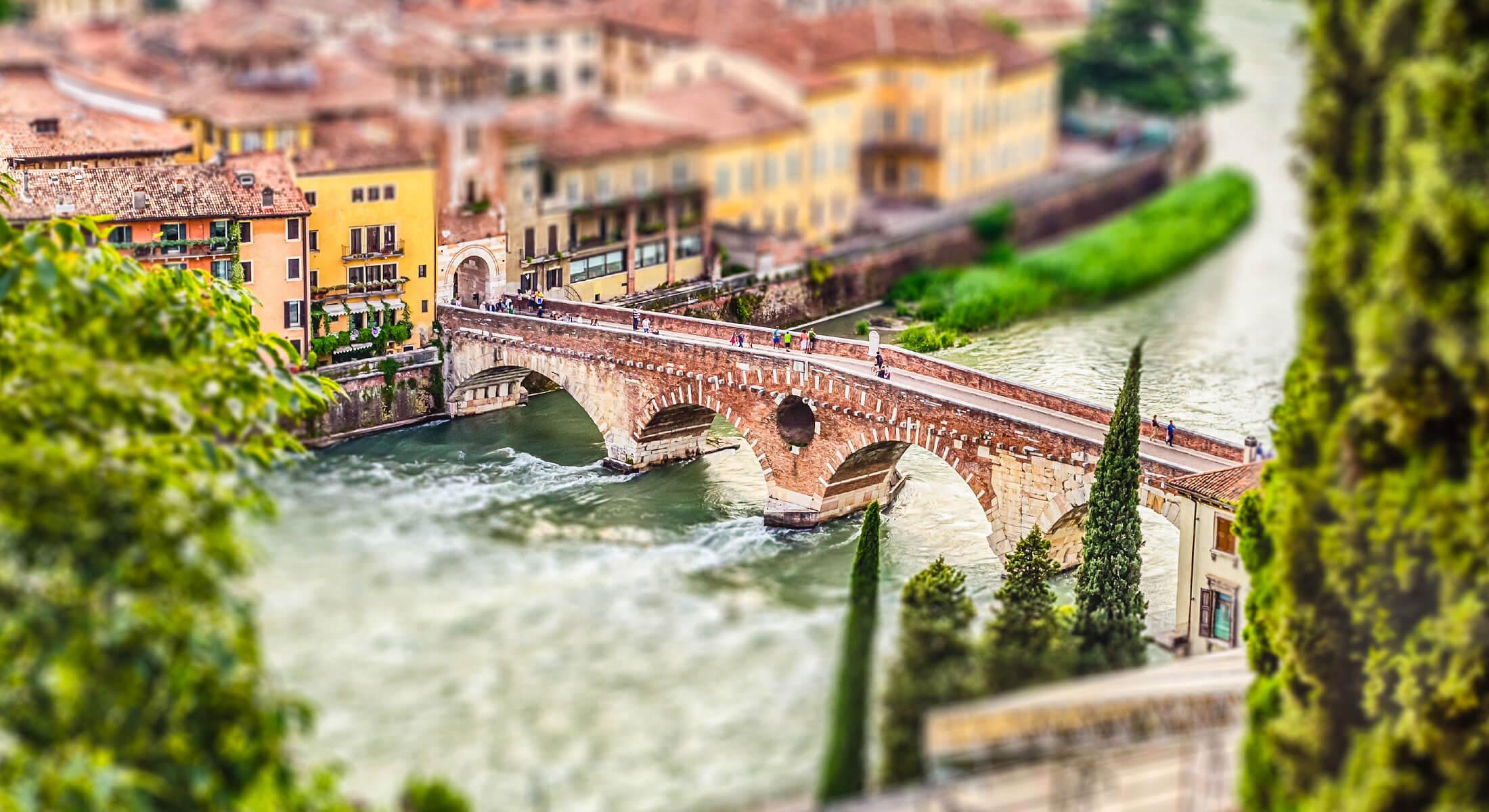 People crossing a bridge in an old European city