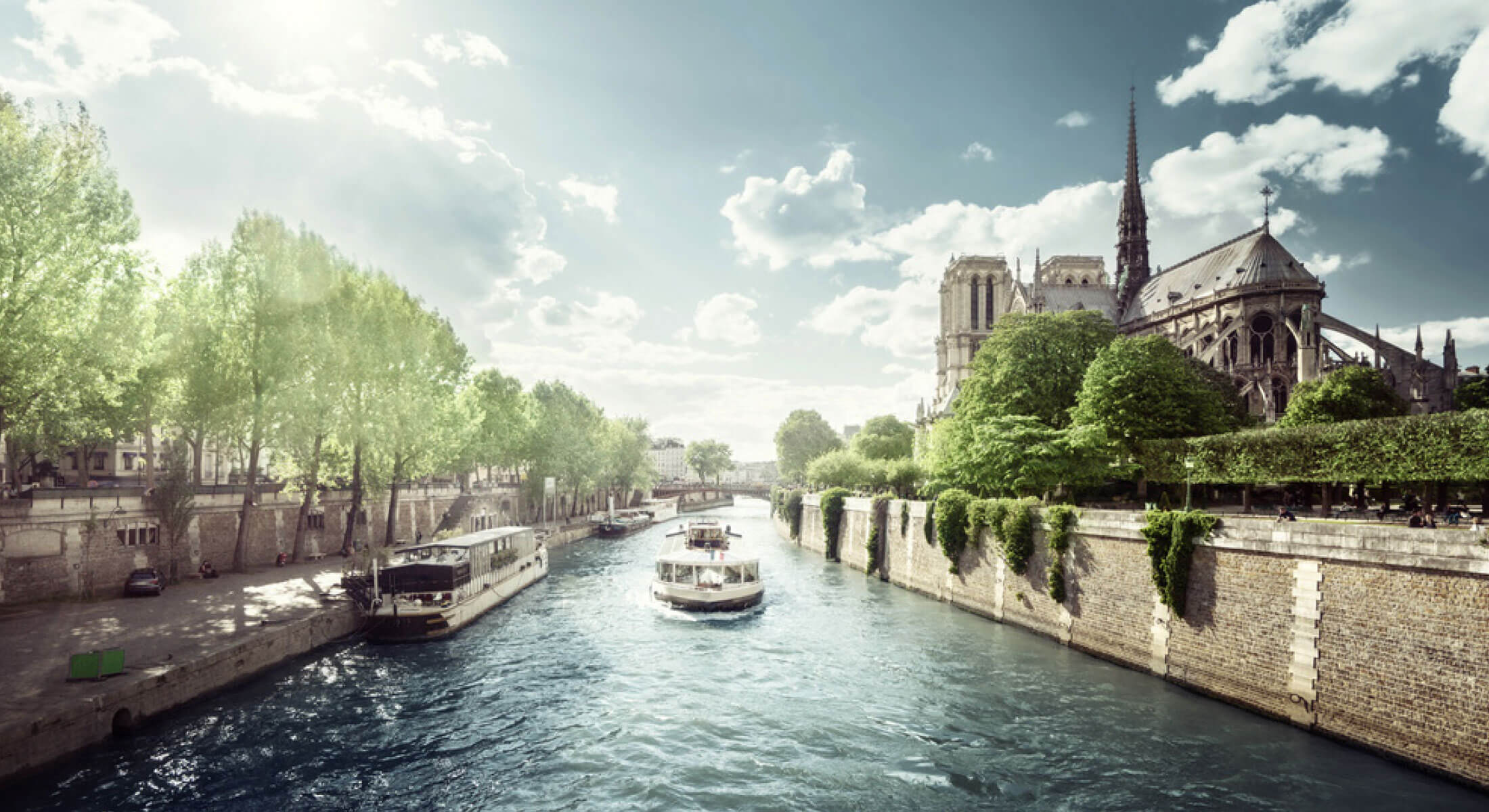 River boats on the Seine in Paris