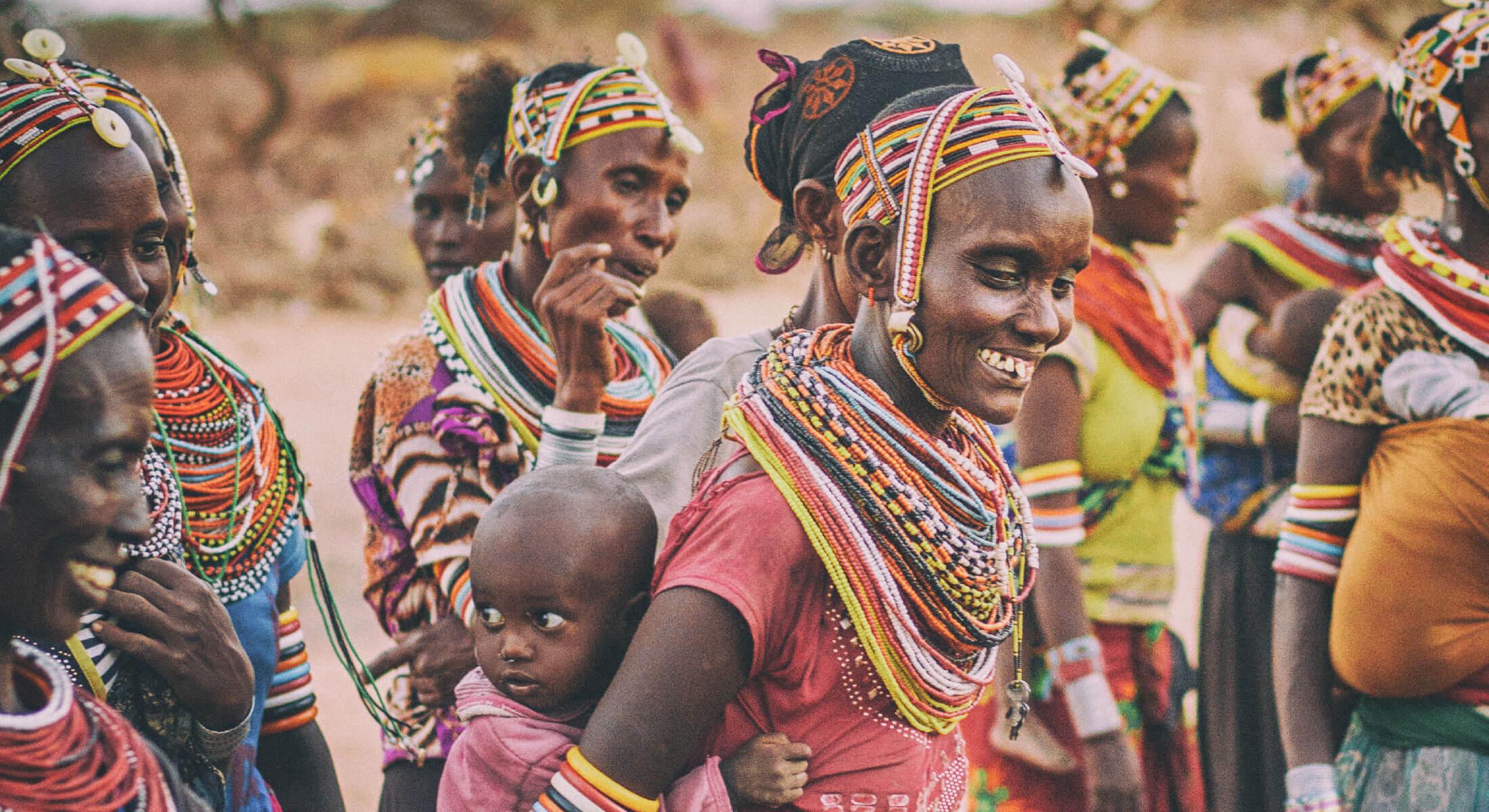 African tribal women and children