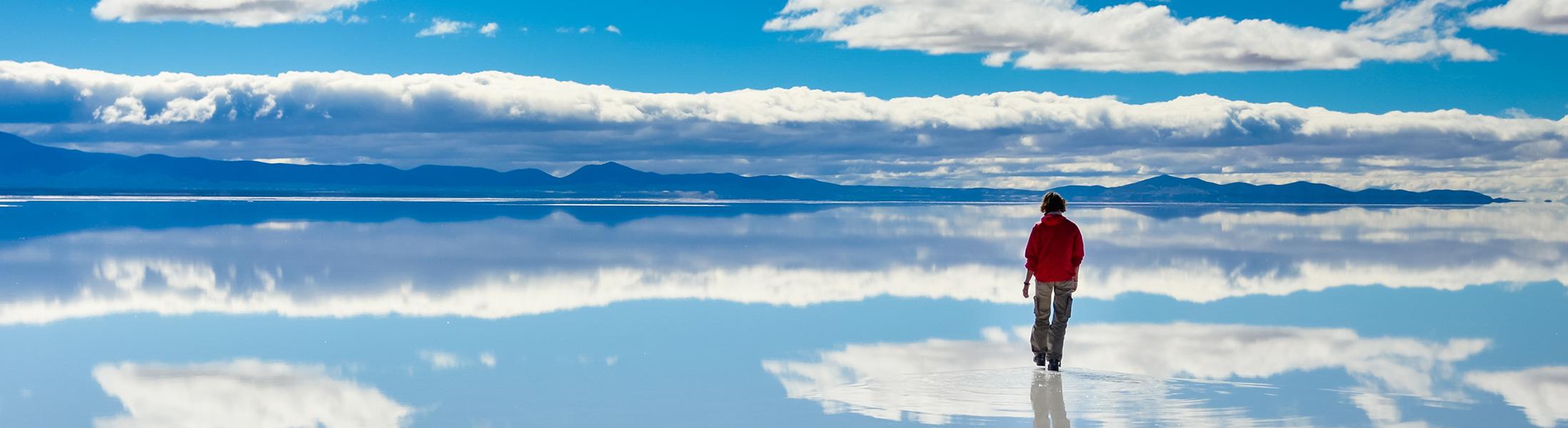 Woman on Salar de Uyuni Salt Flats Bolivia