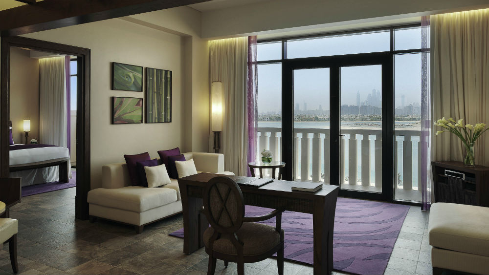 Living room in the Opera Suite at the Sofitel The Palm in Dubai