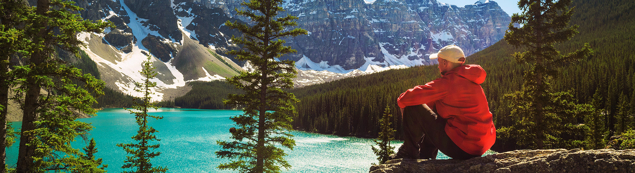 Hiker in Banff National Park in North America