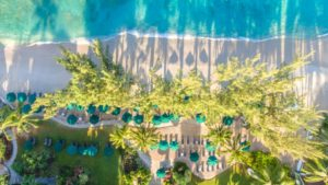 Aerial view of the beach at Coral Reef Club in Barbados