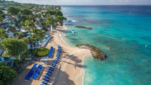 Aerial view of the beach at Crystal Cove in Barbados