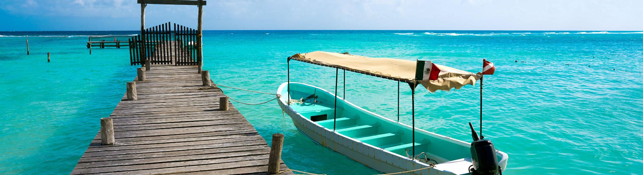 Caribbean beach pier in Costa Maya of Mayan Mexi