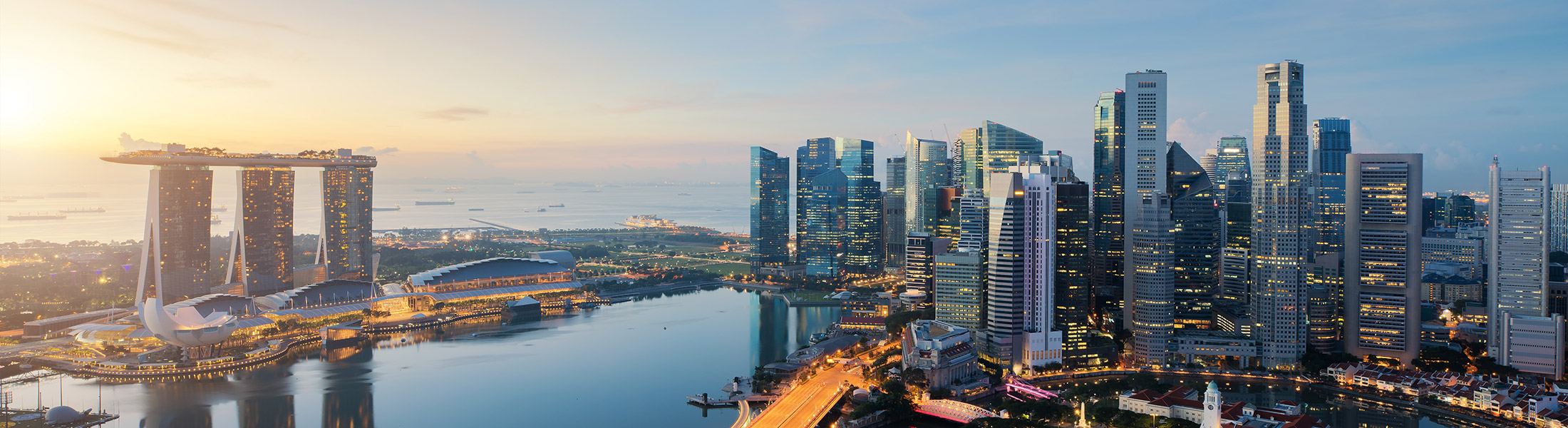 Singapore City's skyline at sunset