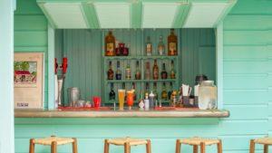 Drinks behind a beach bar at Sugar Bay in Barbados