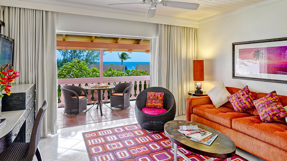 Living Area of the Garden View Junior Suite at Crystal Cove by Elegant Hotels