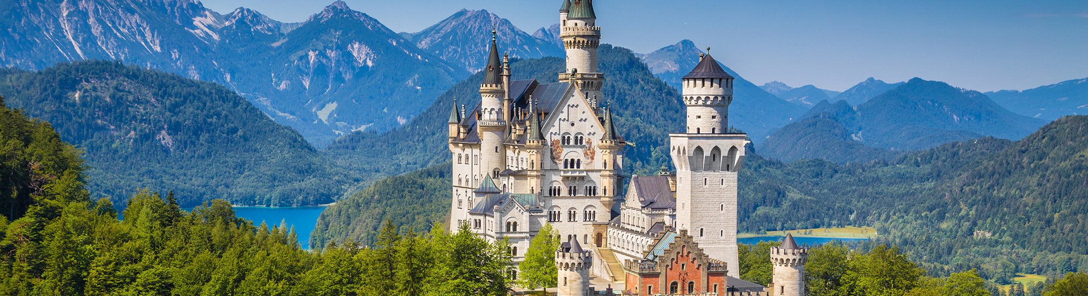 Neuschwanstein Castle with mountains in Germany Europe