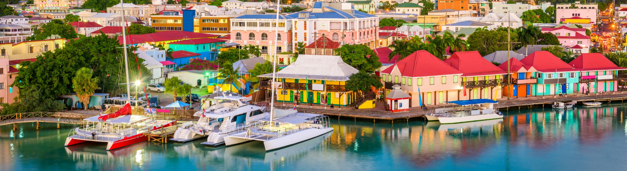 Colourful houses on a harbour in the Caribbean