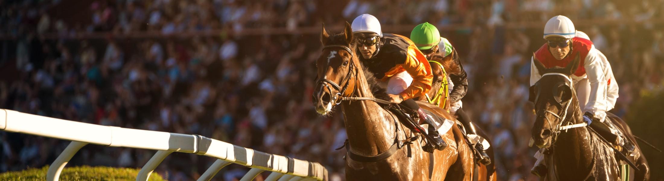 Jockeys on horses at the trck