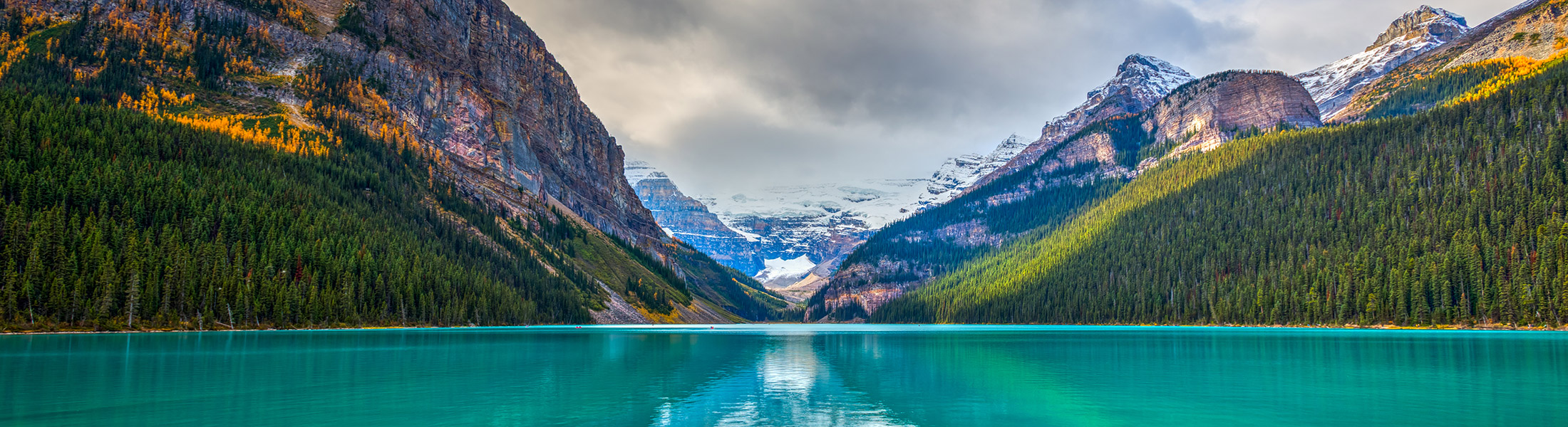 Turquoise water in a mountain lake in North America