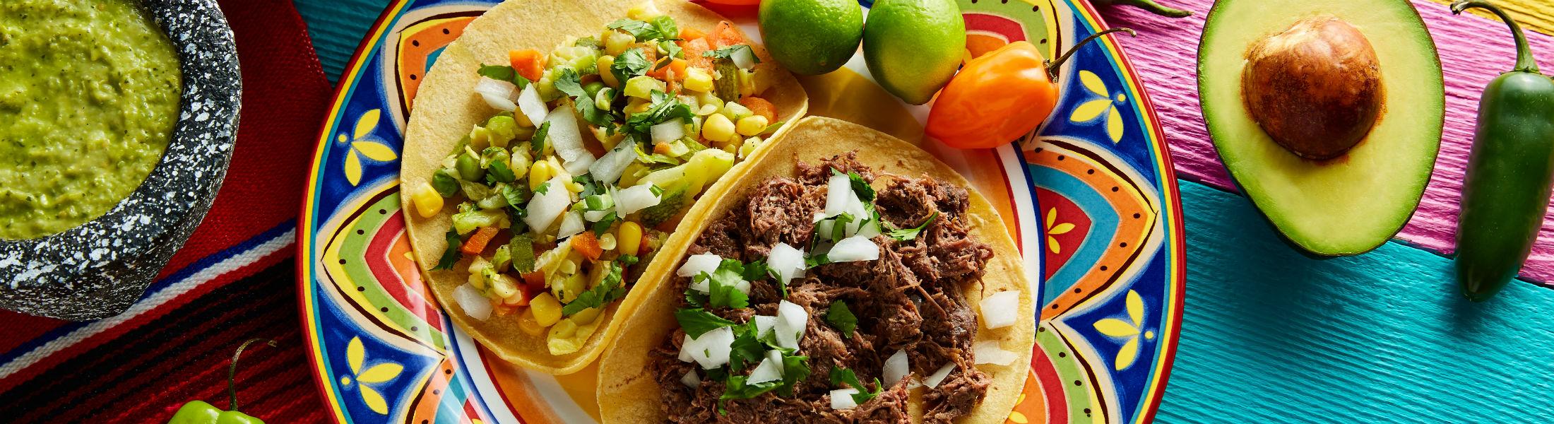 Mexican platillo tacos of barbacoa