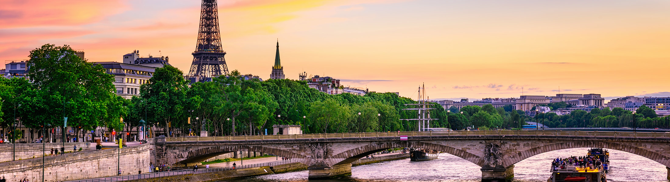 Sunset over the Seine and the Eiffel Tower in Paris France in Europe