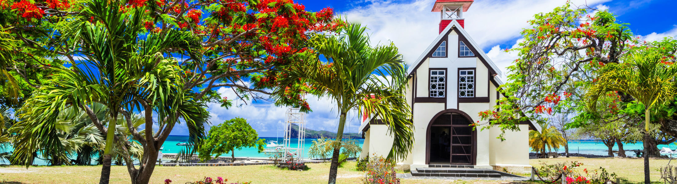 Red Church on the beach in Mauritius