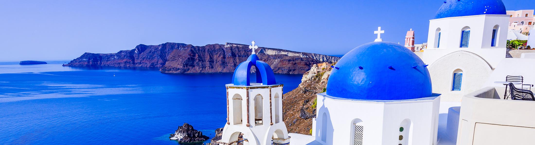 Rooftops and caldera in Santorini Greece in Europe
