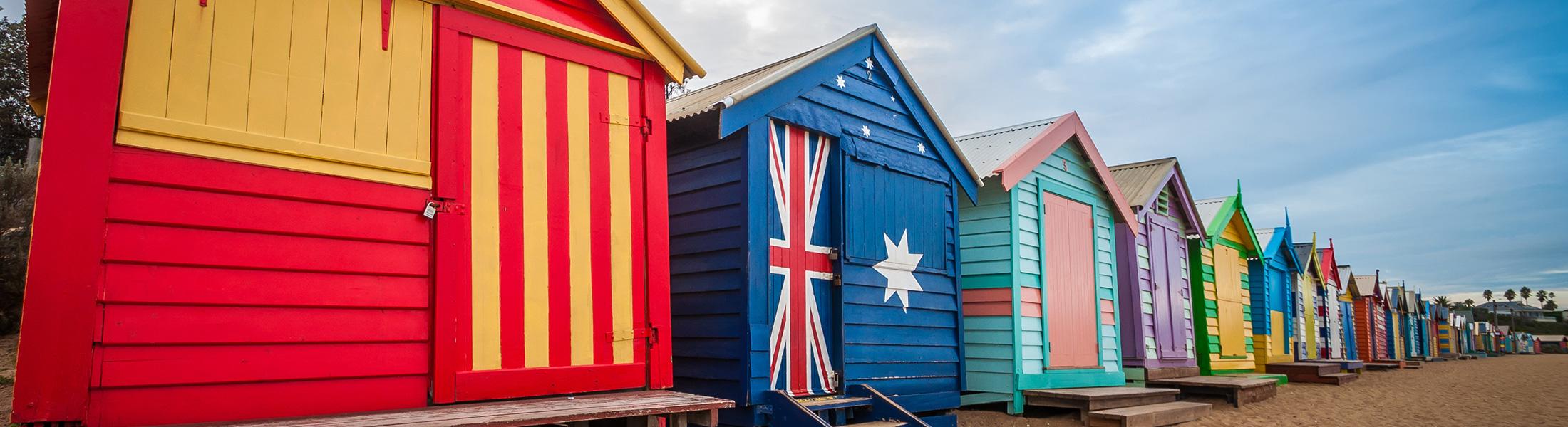 Beach huts on St Kilda Beach in Australia