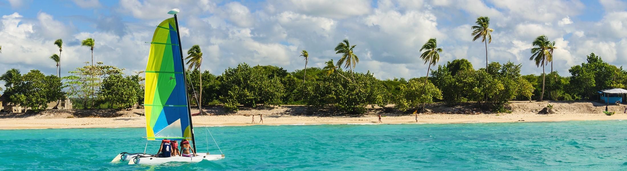 Windsurfer off the coast of a Caribbean island