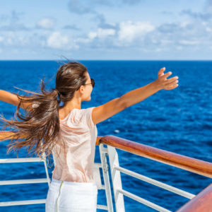 Woman on cruise ship vacation