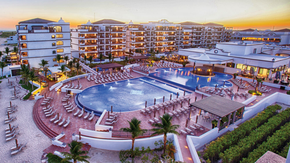Aerial shot of the Grand Residences Riviera Cancun hotel