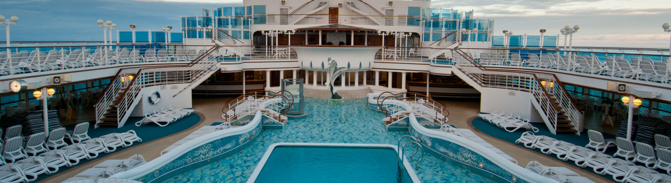 cruise ship with luxurious pools and spa facilities
