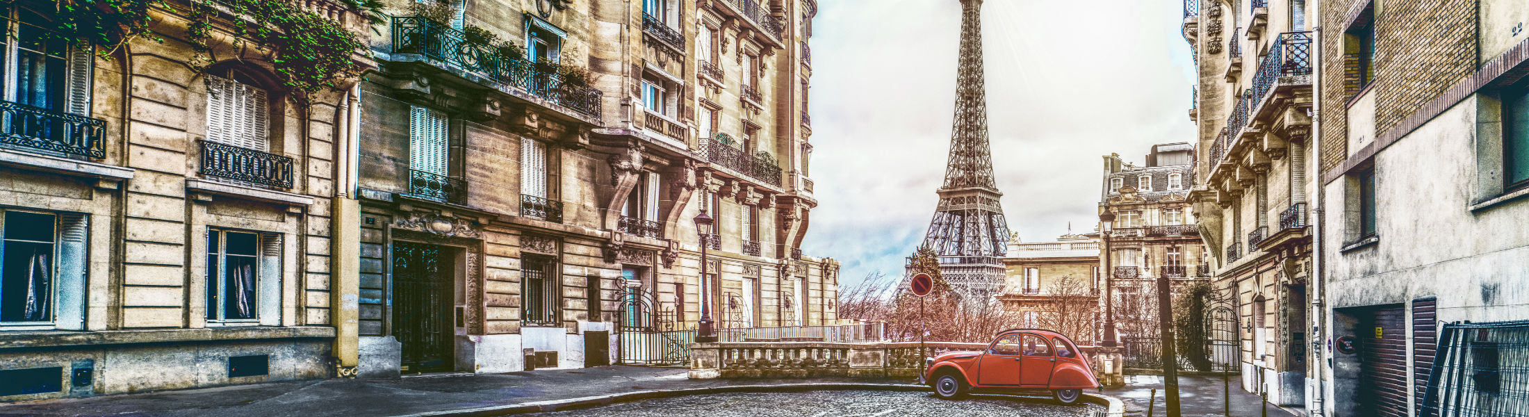 Paris street with Eiffel tower