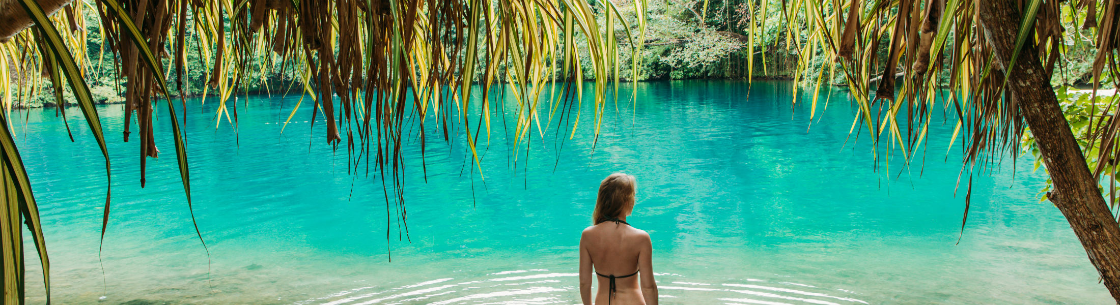 Girl in blue lagoon Jamaica