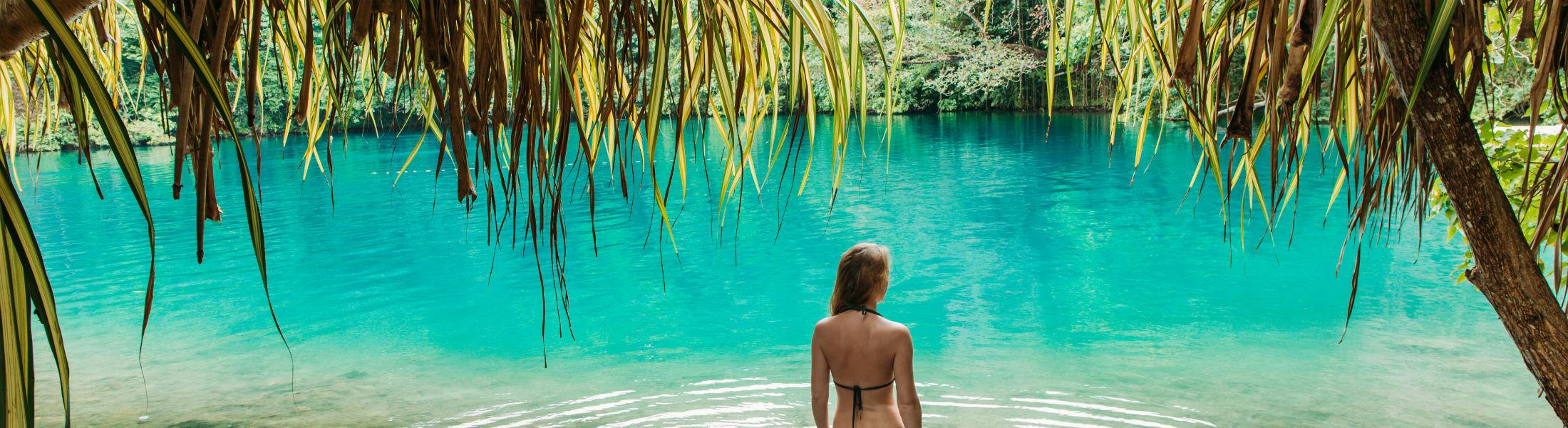 Girl in blue lagoon Jamaica