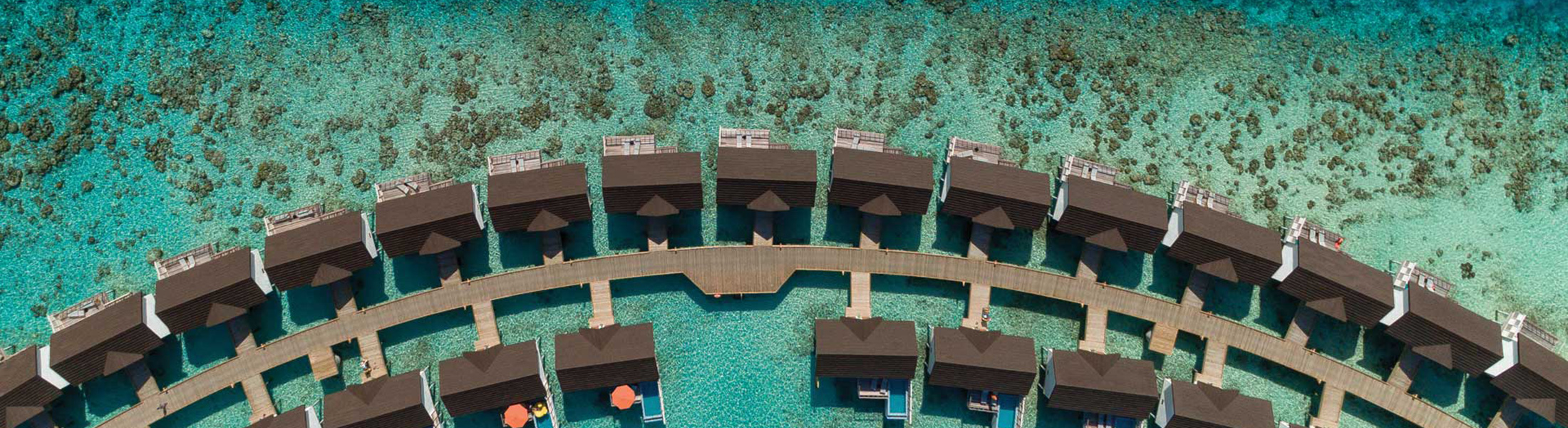 Aerial view of water villas at Oblu Select at Sangeli
