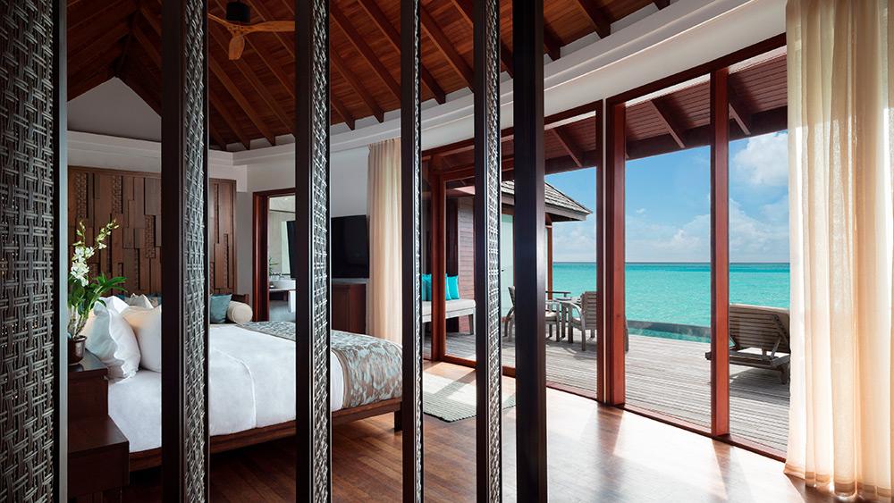 Bedroom view of the Anantara Over Water Pool Suite at Anantara Dhigu Resort