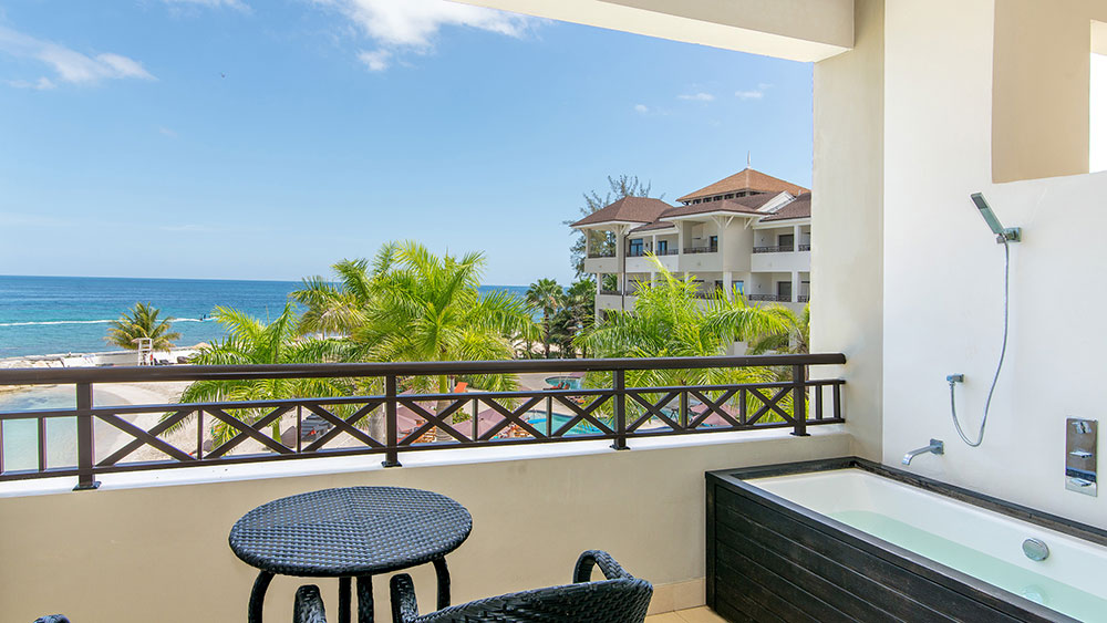 Balcony with a sea view at Secrets Wild Orchid Montego Bay