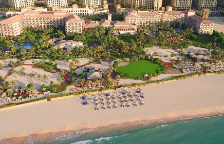 Aerial view of the beach at Ritz-Carlton Dubai