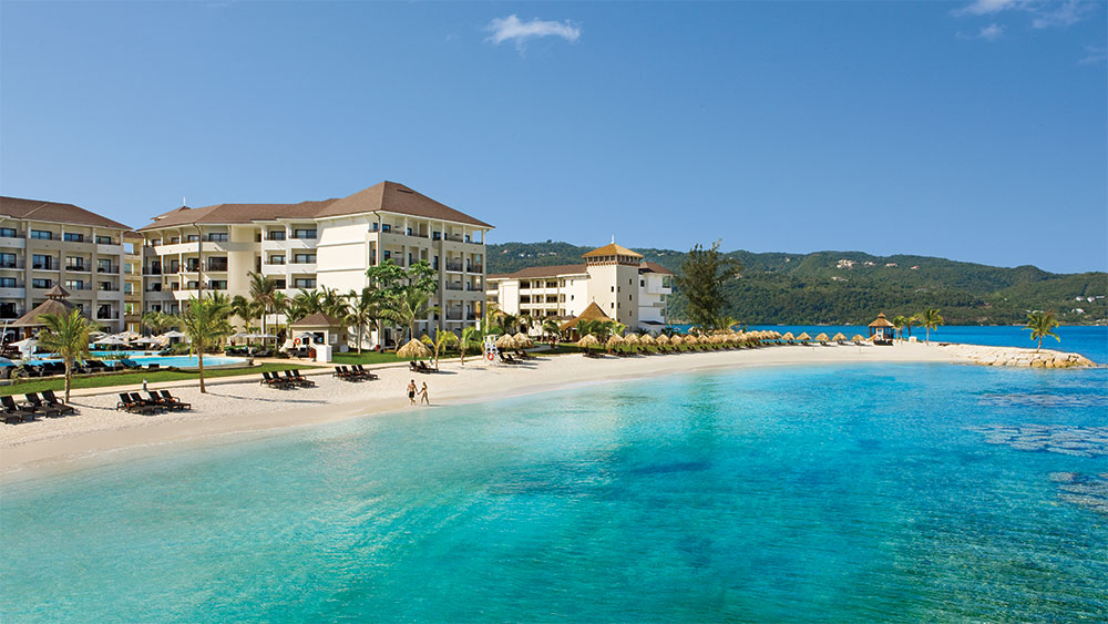 The beach at the Secrets Wild Orchid Montego Bay resort