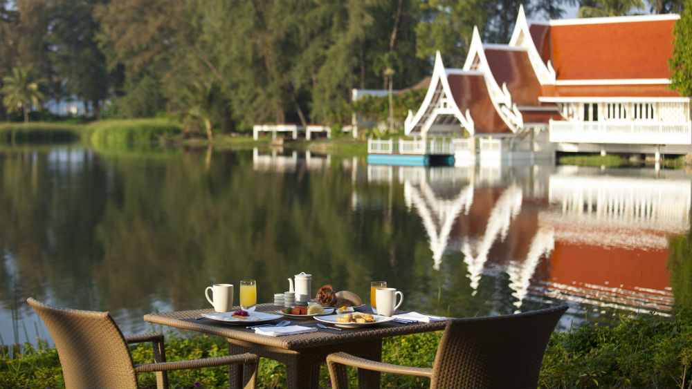 Breakfast with a view of the lagoon at Angsana Laguna Phuket