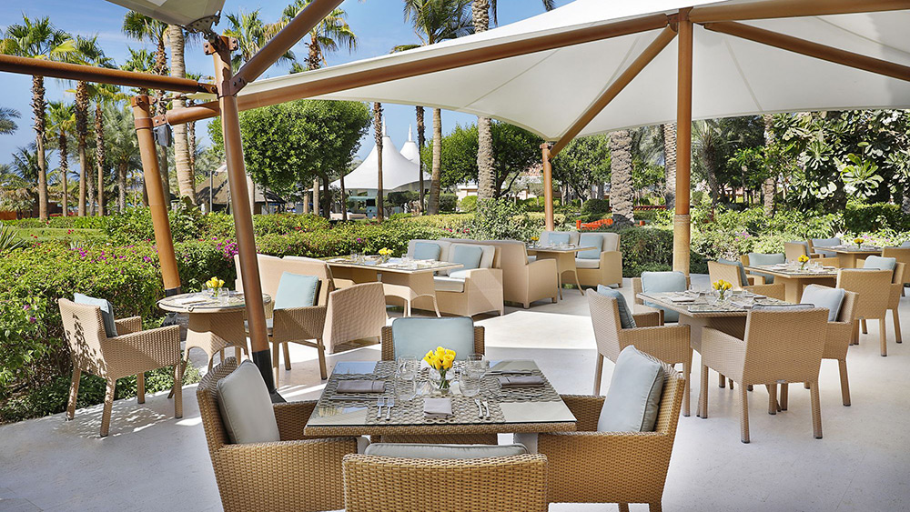Outdoor seating in Caravan Restaurant at Ritz-Carlton Dubai