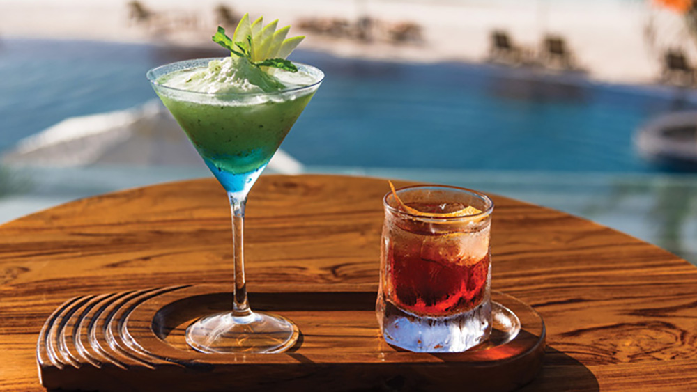 Cocktails overlooking the pool at Oblu Select at Sangeli