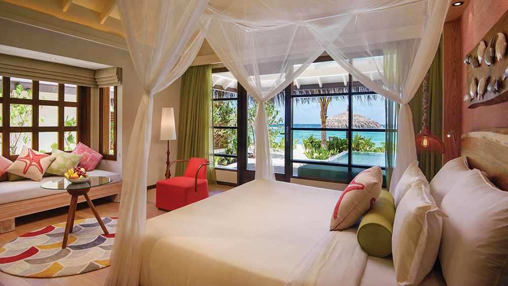 Four post bed in Deluxe Beach Villa at Oblu Select at Sangeli