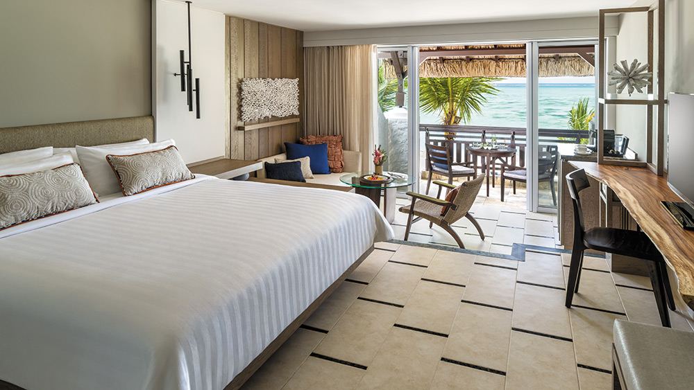 Bedroom of the Deluxe Ocean View Room at Shangri-La Le Touessrok