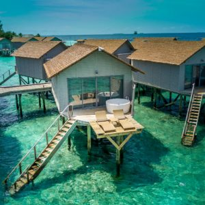 Aerial view of Maldives over-water villas