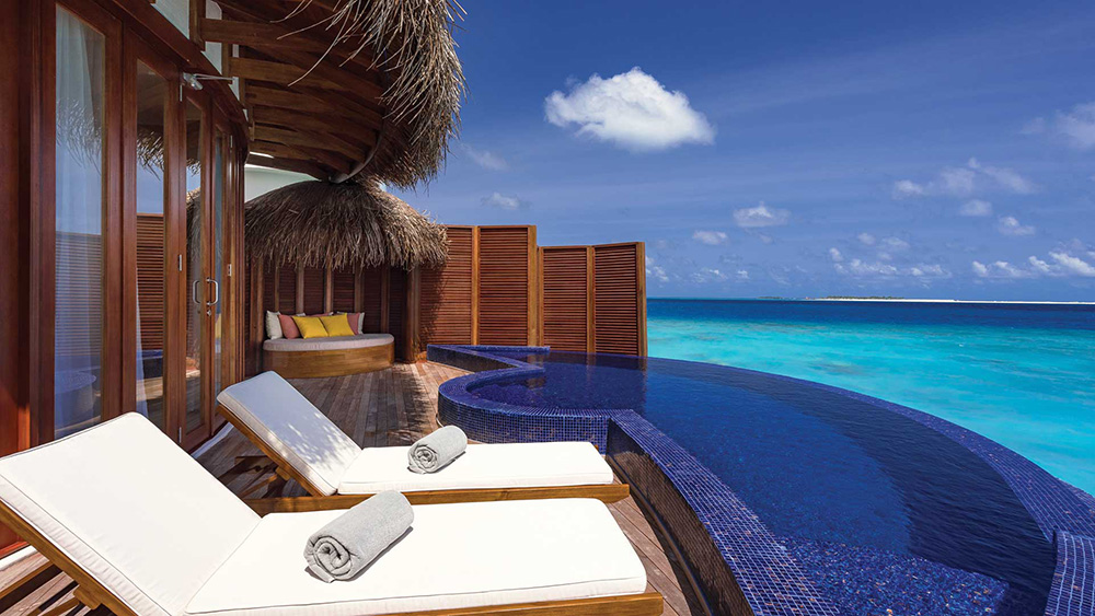 Private deck and pool in the Honeymoon Water Suite at Oblu Select at Sangeli