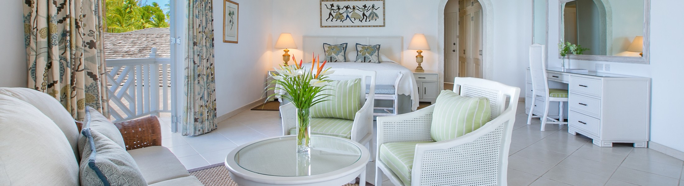 Living area of the Luxury Junior Suite at Coral Reef Club in Barbados