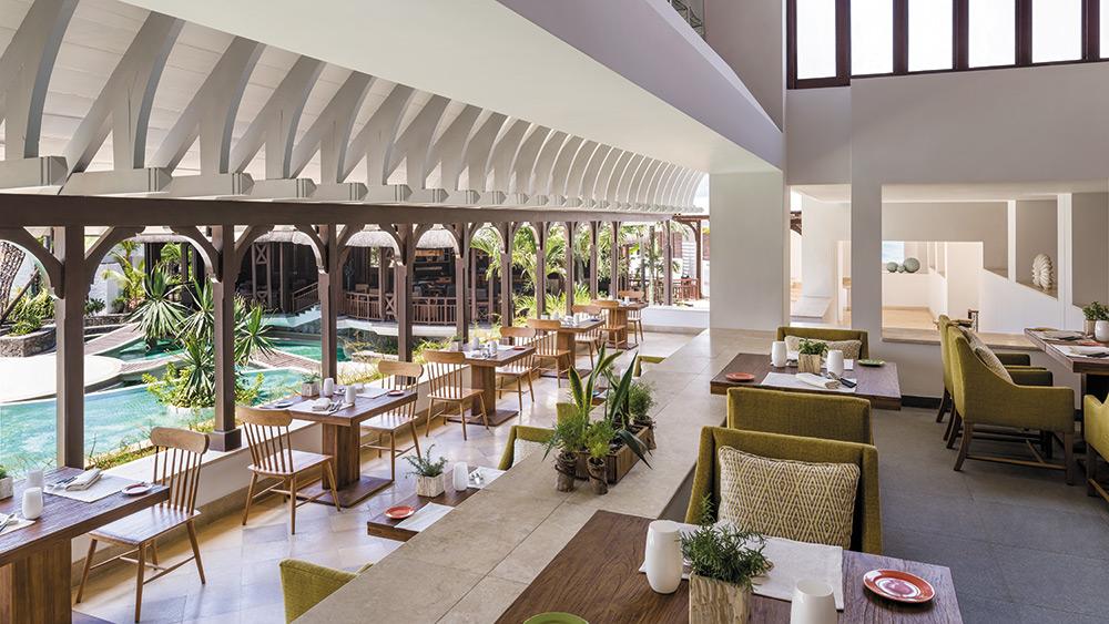 Dining area in La Bazar Restaurant at Shangri-La's Le Touessrok Mauritius